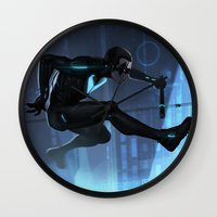 nightwing Wall Clocks featuring Nightwing Beyond by Yvan Quinet