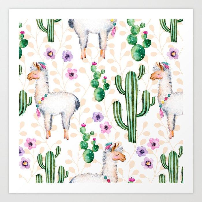 Colorful pattern cactus and lamas pattern Kunstdrucke