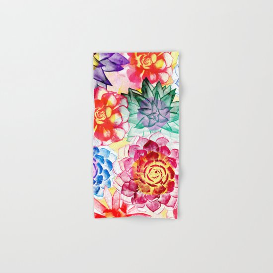 Colorful Succulents  Hand & Bath Towel