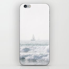 Calfornia coast. Sailing boat. Hazy ocean view. Crasing waves. iPhone Skin