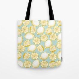Lemons On Turquoise Background Tote Bag