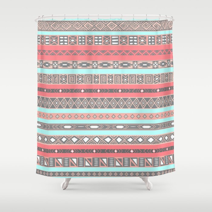 Peach Rose Baby Blue Aztec Tribal Native Pattern Shower Curtain