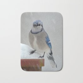 Blue Jay in the Snow Bath Mat