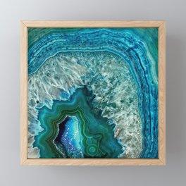 Aqua turquoise agate mineral gem stone Framed Mini Art Print