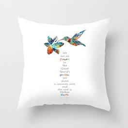 Humming Bird - Great Spirit's Garden - Native American Art - Sharon Cummings Throw Pillow