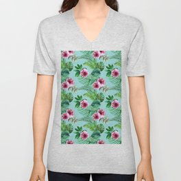 watercolor print of tropical leaves and flowers Unisex V-Neck