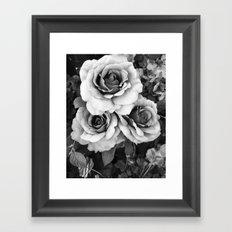 Black and White Roses Wall Decor- Surreal Black White Roses Flower Home Decor Framed Art Print