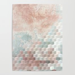 Distressed Cube Pattern - Nude, turquoise and seashell Poster