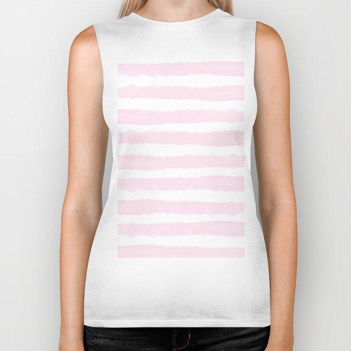 Pink handpainted stripes on clear white Biker Tank