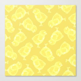 Yellow Easter chicken pattern Canvas Print