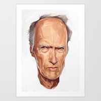 clint eastwood Art Prints featuring Clint Eastwood by Viktor Miller Gausa