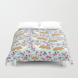 Corgi cherry blossom florals dog must have cute welsh corgis gifts pure breed Duvet Cover