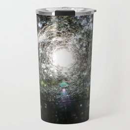 Sun in the forest across the web. Travel Mug
