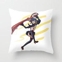 kill la kill Throw Pillows featuring Kill la Kill: Ryuko Matoi by meganbarker