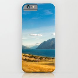 Golden grasses on the side of Lake Hawea in New Zealand. iPhone Case