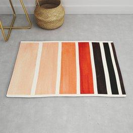 Brown Minimalist Watercolor Mid Century Staggered Stripes Rothko Color Block Geometric Art Rug