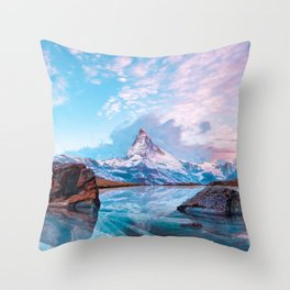 Frozen Matterhorn Throw Pillow