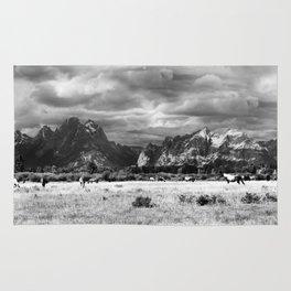 Horse and Grand Teton (Black and White) Rug