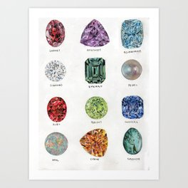 Birthstones Watercolour Art Print