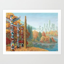 Vancouver Two Worlds Collide Landscape Painting Art Print