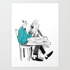 the old couple Art Print