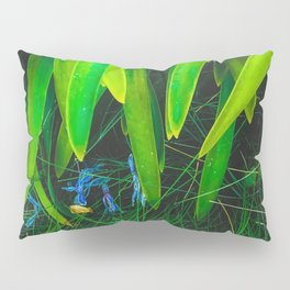 closeup green leaves plant with green grass Pillow Sham