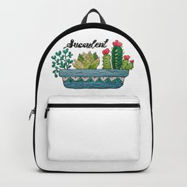Hand Embroidery Succulent Pot Backpack