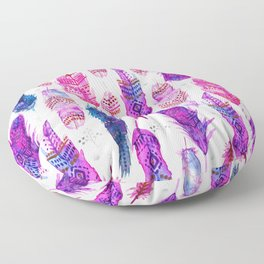 Watercolor Pink Blue Feathers V.02 Floor Pillow