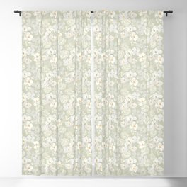 White flowers on pale green Blackout Curtain