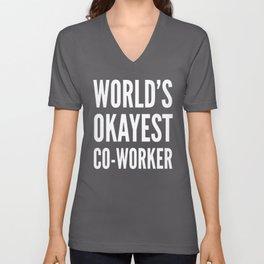 World's Okayest Co-worker (Black & White) Unisex V-Neck