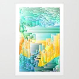 Ice Ice Baby - Abstract Glitch Pixel Art Art Print