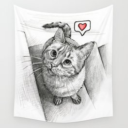 Cute Kitty Cat - Love Me Wall Tapestry
