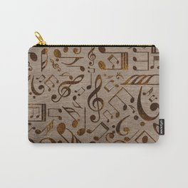 Golden pyrography  Musical notes pattern on wood Carry-All Pouch