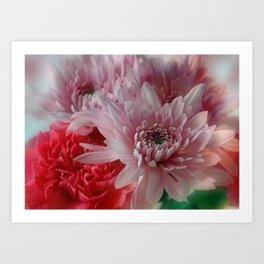 Carnation and Chrysanthemums  Art Print