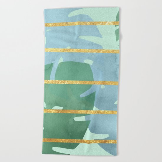 Leaves Pattern Golden Stripes Beach Towel