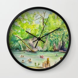 Krause Springs - historic Texas natural springs swimming hole Wall Clock