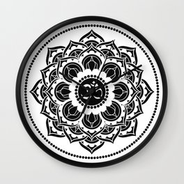 Black and White Mandala | Flower Mandhala Wall Clock