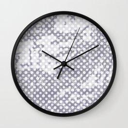 Lilac-gray polka dots with texture Wall Clock