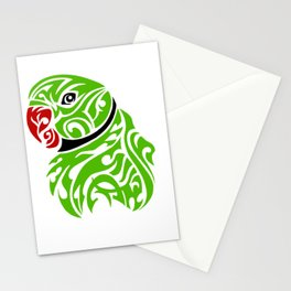 Green ringneck parrot tattoo Stationery Cards