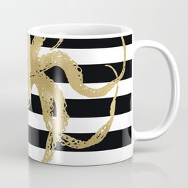 Gold Octopus on Black & White Stripes Coffee Mug