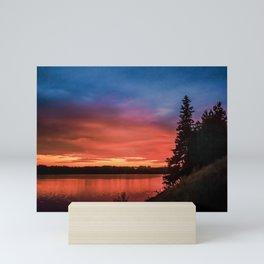 Evening on the river Mini Art Print
