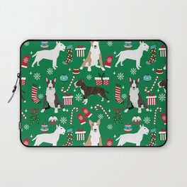 Bull Terrier christmas holiday pet pattern stockings presents dog breed gifts Laptop Sleeve