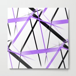 Criss Crossed Lilac and Black Stripes on White Metal Print