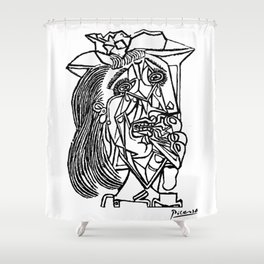 Pablo Picasso Weeping Woman 1937 Crying, Artwork Sketch Reproduction Design For Men, Women, Kids, Ts Shower Curtain