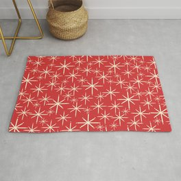 Atomic Age Christmas Stars - Midcentury Modern Pattern in Cream and Retro Xmas Red Rug