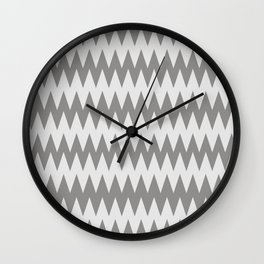 Pantone Pewter Gray and White Zigzag Pointed, Rippled Horizontal Line Pattern Wall Clock