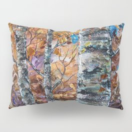 Birch Trees with Palette Knife by OLena Art for @society6 Pillow Sham