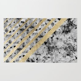 Chic modern black and white faux gold stripe marble pattern Rug