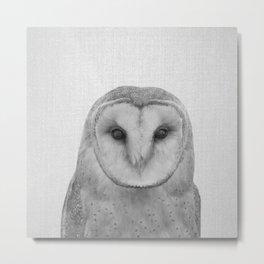 Owl - Black & White Metal Print