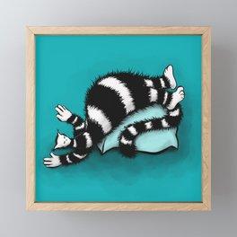Weird Cat Sleeping On Fat Pillow Framed Mini Art Print